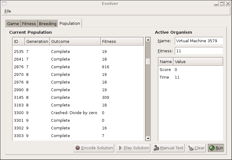 Population tab on the Evolver