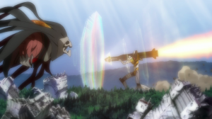 Unit-00 wielding a missile against the Tenth Angel